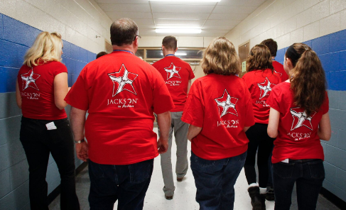 Jackson associates on their way to volunteer